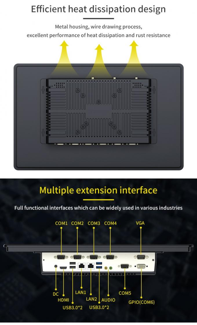 "21.5"" Fanless Industrial Panel PC Low Consumption Wide Temperature Operating"
