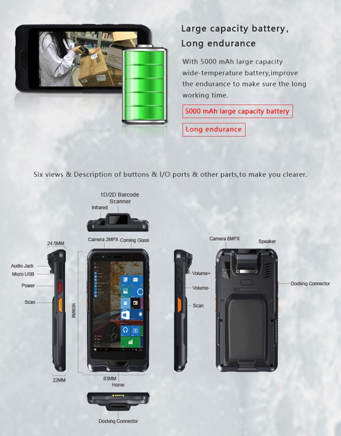 IP65 6 Inch Rugged Handheld Mobile Intel x5-Z8350 Windows PDA Black Color