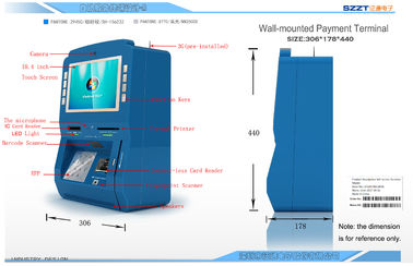 Wall-mounted touch screen self-service payment terminal with Windows system