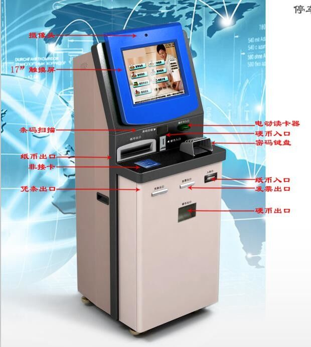 Automatic Bill Payment Kiosk High Brightness LED Touch Screen For Car Parking Lot